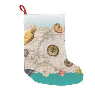 Petite Chaussette De Noël Aigue-marine marine de collage