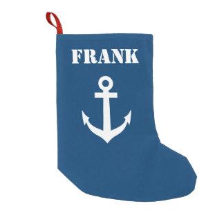 Petite Chaussette De Noël Ancre nautique nommée personnalisée de bateau de