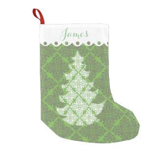 Petite Chaussette De Noël Arbre vert et blanc de vacances de motif de