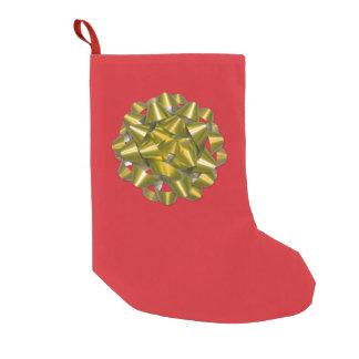 Petite Chaussette De Noël Arc de ruban d'or des vacances rouges