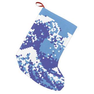 Petite Chaussette De Noël Art de pixel de bit du bleu 8 de tsunami de pixel
