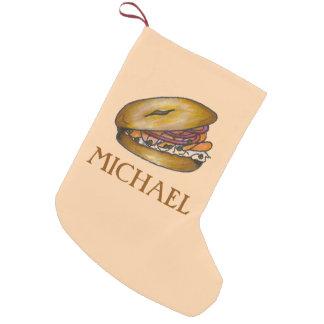 Petite Chaussette De Noël Bagel avec le bas de fin gourmet de fromage fondu