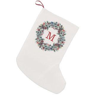 Petite Chaussette De Noël Baies et bas rustiques de monogramme de vacances