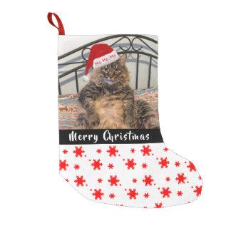 Petite Chaussette De Noël Bas de Noël de chat de Père Noël