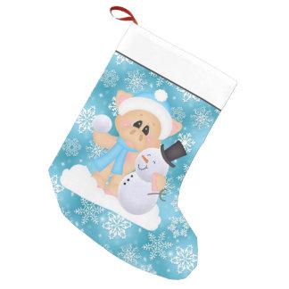Petite Chaussette De Noël Bas de Noël de porc et de bonhomme de neige de