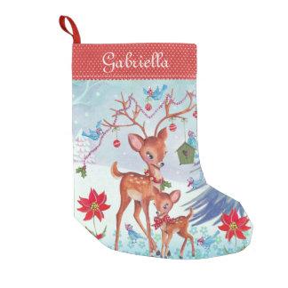 Petite Chaussette De Noël Bas de Noël des oiseaux | de Noël de cerfs communs