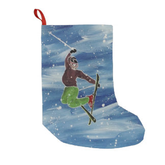 Petite Chaussette De Noël Bas de thème de ski