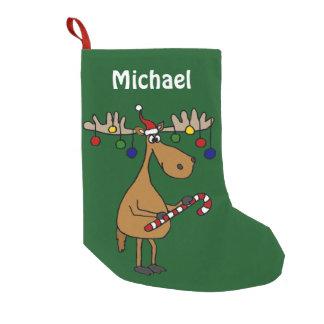 Petite Chaussette De Noël Bas drôle d'orignaux de Noël