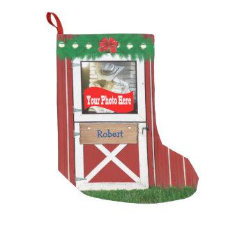 Petite Chaussette De Noël Bas fait sur commande de porte de grange (de votre