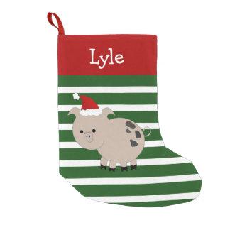 Petite Chaussette De Noël Bas gai de porc d'animal familier de Père Noël