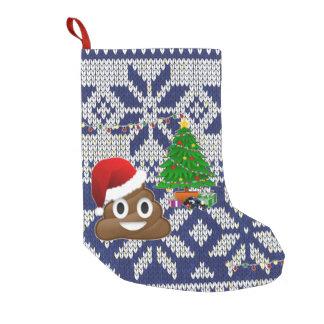 Petite Chaussette De Noël bas laid d'emoji de dunette de chandail de Noël