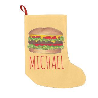 Petite Chaussette De Noël Bas personnalisé de Noël d'hamburger d'hamburger