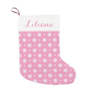 Petite Chaussette De Noël Bas personnalisé par flocons de neige doux/rose