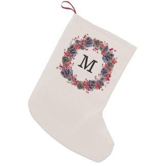 Petite Chaussette De Noël Bas rustique de monogramme de vacances de la
