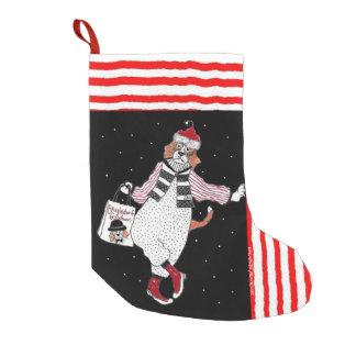 Petite Chaussette De Noël Beagle de penchement de Père Noël