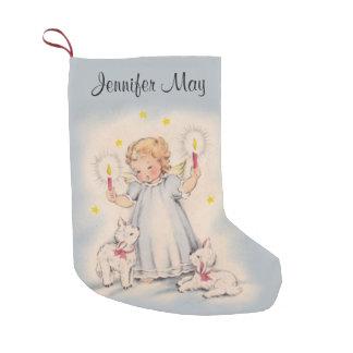 Petite Chaussette De Noël Bel ange vintage personnalisé avec des agneaux