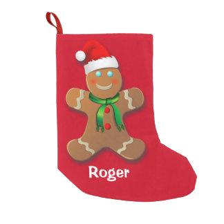 Petite Chaussette De Noël Bonhomme en pain d'épice avec le casquette rouge