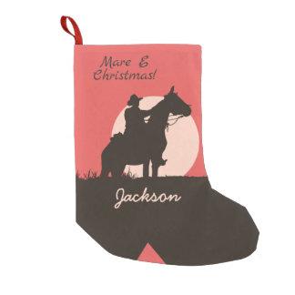 Petite Chaussette De Noël Botte de silhouette de cowboy de Noël de la jument