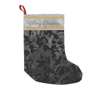Petite Chaussette De Noël Camouflage gris noir et foncé de Camo moderne -