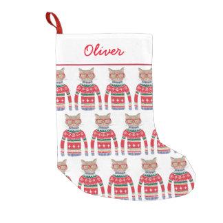 Petite Chaussette De Noël Chat drôle d'amoureux des chats utilisant le