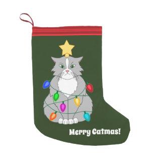Petite Chaussette De Noël Chat fou drôle d'arbre de Noël dans les lumières