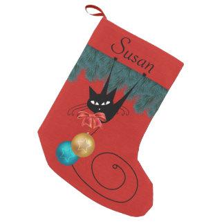 Petite Chaussette De Noël Chat noir et bas personnalisé par ornements