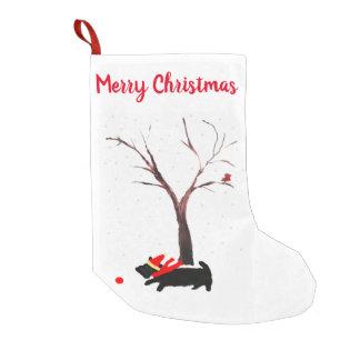 Petite Chaussette De Noël Chien de fête et Robin de Scottie