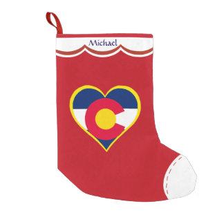 Petite Chaussette De Noël Coeur de drapeau du Colorado personnalisé