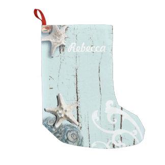 Petite Chaussette De Noël Coquillage en bois d'étoiles de mer de plage bleue