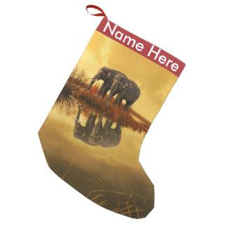 Petite Chaussette De Noël Coucher du soleil d'éléphants
