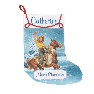 Petite Chaussette De Noël Cow-girl sur la scène d'hiver de cheval