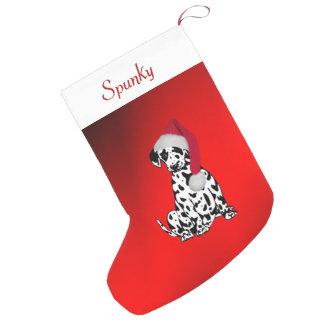 Petite Chaussette De Noël Dalmate avec le nom de chiens en haut