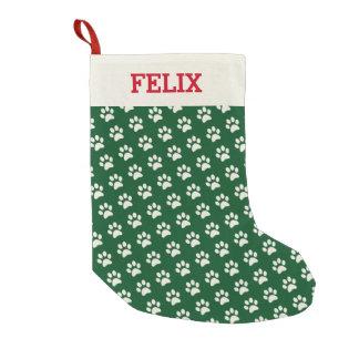 Petite Chaussette De Noël Empreinte de patte de vert de nom de chat de Noël