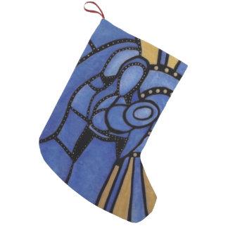 Petite Chaussette De Noël Famille sainte de Noël moderne bleu