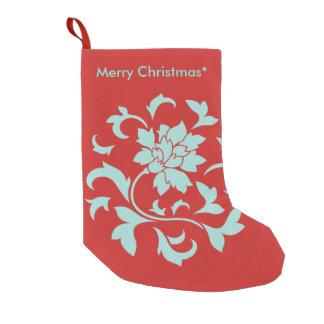 Petite Chaussette De Noël Fleur orientale - Joyeux Noël - rouge
