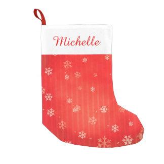 Petite Chaussette De Noël Flocon de neige rouge