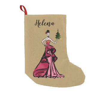 Petite Chaussette De Noël Illustration de mode de Noël avec l'arbre