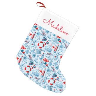 Petite Chaussette De Noël Le motif blanc et bleu rouge nautique | ajoutent