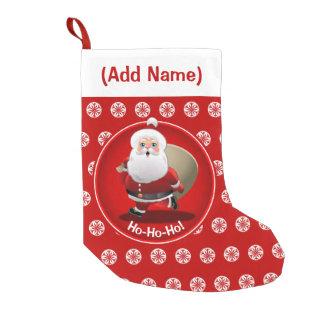 Petite Chaussette De Noël Le père noël heureux avec un sac plein des cadeaux