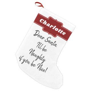 Petite Chaussette De Noël Lettre drôle de Père Noël de Noël personnalisée