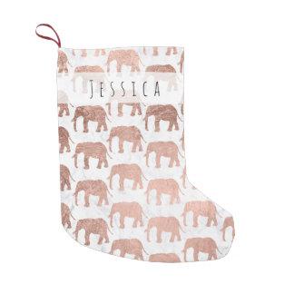 Petite Chaussette De Noël Marbre rose de blanc d'éléphants d'or de faux à la