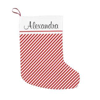 Petite Chaussette De Noël Monogramme de motif de rayure de Noël rouge et