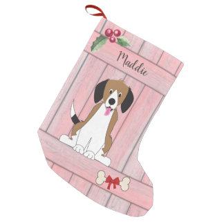 Petite Chaussette De Noël Monogramme en bois de barrière de beagle de fille