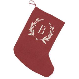 Petite Chaussette De Noël Monogramme rouge rustique de guirlande de laurier