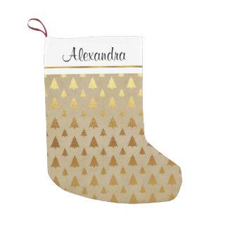 Petite Chaussette De Noël Monogramme rustique d'arbre de Noël de feuille