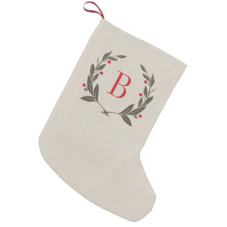 Petite Chaussette De Noël Monogramme rustique de guirlande de laurier