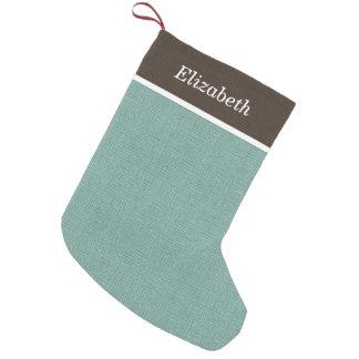Petite Chaussette De Noël Monogramme rustique de vacances de Brown et d'Aqua