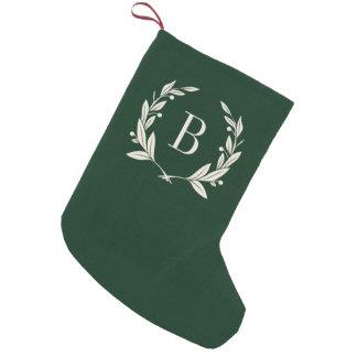 Petite Chaussette De Noël Monogramme vert rustique de guirlande de laurier