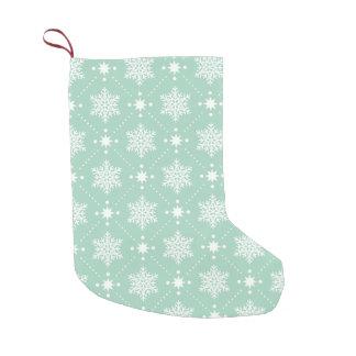 Petite Chaussette De Noël Motif blanc vert en bon état de Noël de flocons de