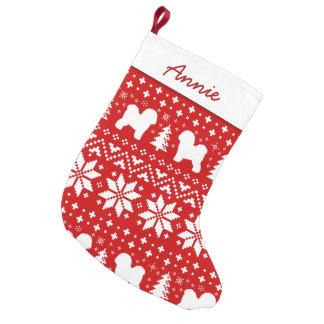 Petite Chaussette De Noël Motif de silhouettes de Bichon Frise